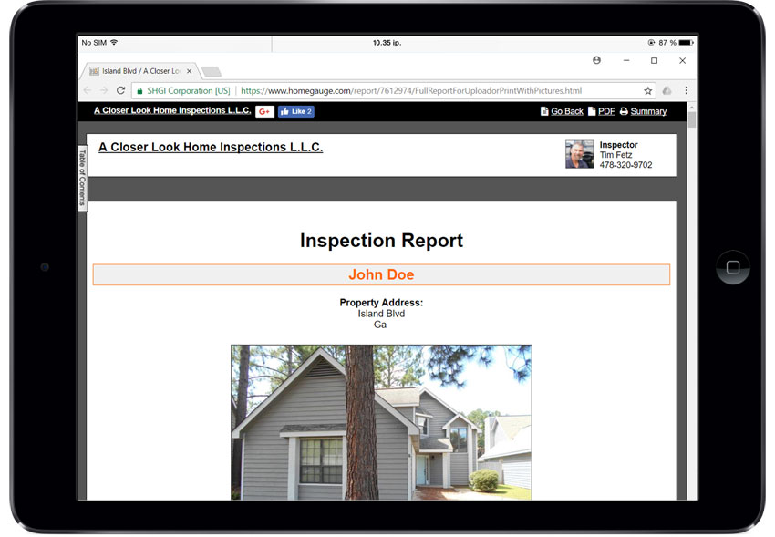 Home Gauge CRL Digital Inspection Report